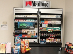 Tobacco product power wall behind the cashier