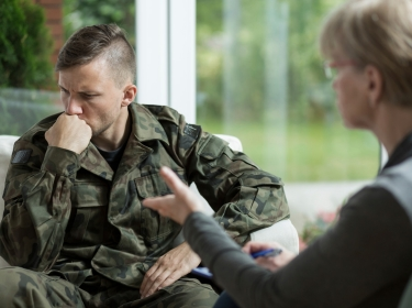 Veteran meeting with therapist