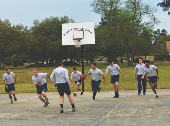 U.S. Airmen play basketball at Shaw Air Force Base