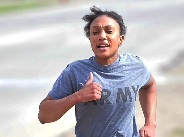 A runner from the 405th Army Field Support Brigade