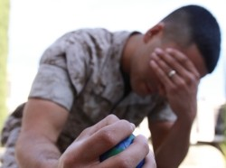 A marine with a stress ball