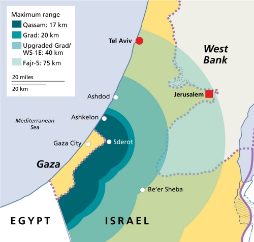 A map depicting rocket ranges from Gaza into Israel