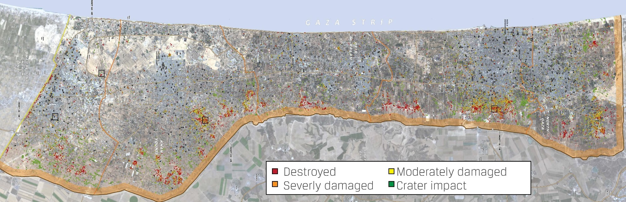 A map depicting the damage to Gaza after 2014