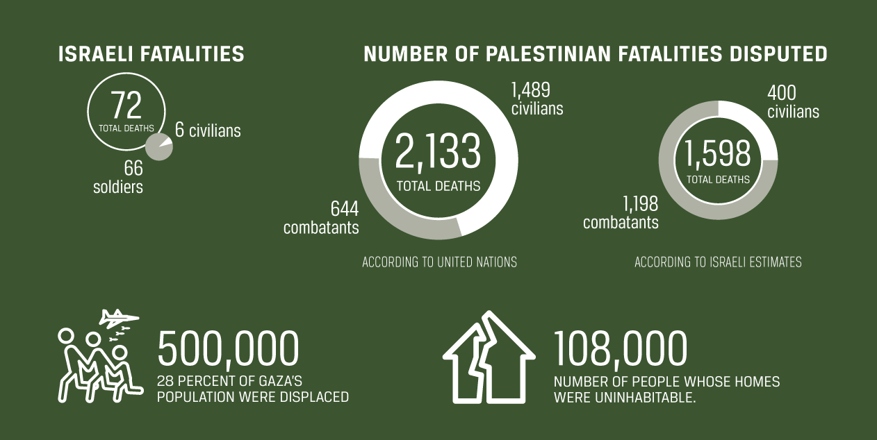 An infographic depicting Israeli and Palestinians fatalities