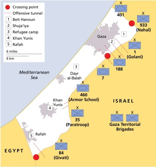 A map depicting IDF forces in Gaza in 2014