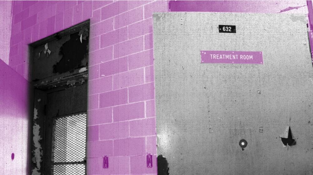 "A door labeled ""treatment room"""