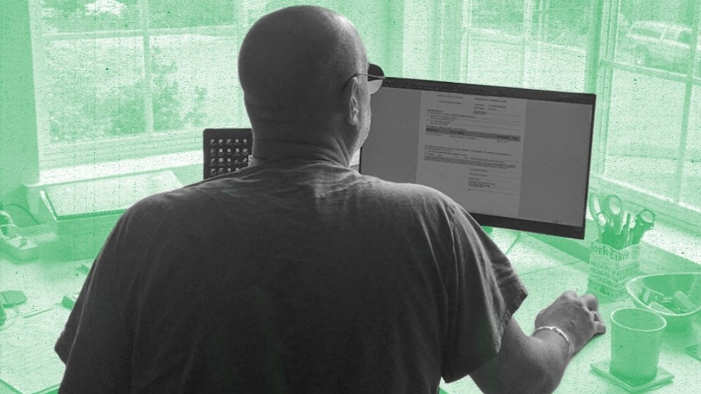 A probation officer works from home during the COVID-19 pandemic