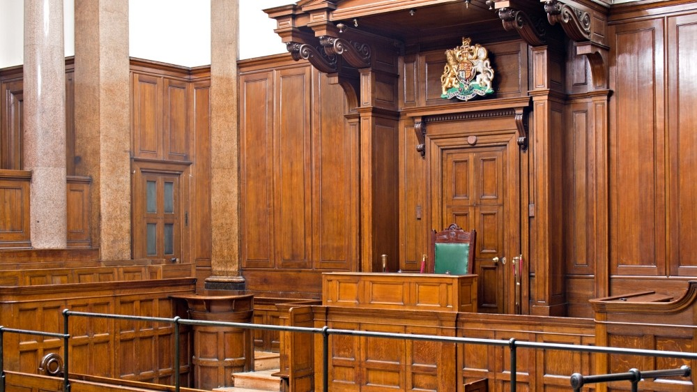 View of Crown Court room inside St Georges Hall, Liverpool, UK