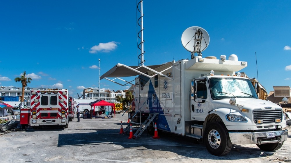 A FEMA Mobile Emergency Response Support Vehicle is set up at a command center on City Pier after Hurricane Michael made landfall on the Florida Panhandle