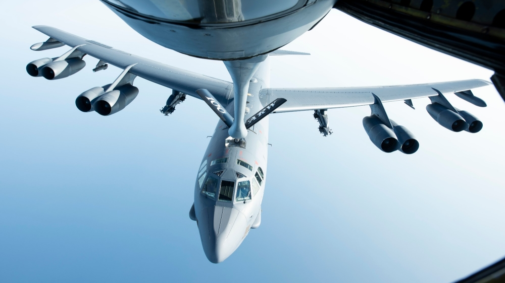 A U.S. Air Force B-52H Stratofortress after receiving fuel above the Mediterranean Sea in support of a Bomber Task Force Europe mission