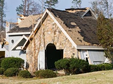 A house damaged by a tornado