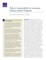 Cover: Paths to Sustainability for Innovative Delivery System Programs