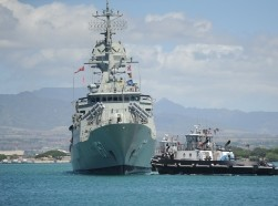 The Royal Australian Navy guided-missile frigate HMAS Perth arrives in Pearl Harbor during a routine port visit