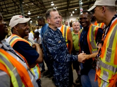 Adm. Mike Mullen, chairman of the Joint Chiefs of Staff thanks workers of the Mine Resistant Ambush Protected (MRAP) All-Terrain Vehicle workforce in Charleston, S.C. on June 3, 2010.