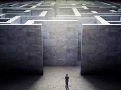 man approaching a maze