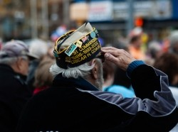 Stamford, USA - November 10, 2013: A Veteran is enjoying and observing the Veterans Day Parade honoring all the Veterans from the Korean, Vietnam and other wars.