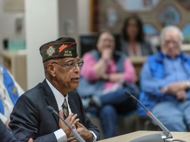 Fairbanks, Alaska, USA- August 24, 2015; Veterans Of Foreign Wars Alaska Commander Walter W. Watts Jr. gives a public testimony on the problems with the Veterans Adminstration's health care system.