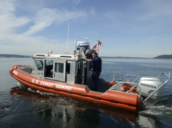 A US Coast Guard Maritime Safety and Security Team on patrol