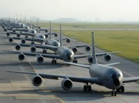 Twelve KC-135 Stratotankers from the 909th Air Refueling Squadron taxi onto the runway during exercise Forceful Tiger on Kadena Air Base, Japan, April 1, 2015, photo by Staff Sgt. Marcus Morris/U.S. Air Force