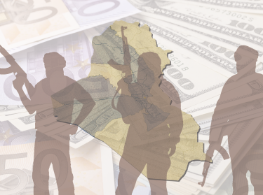 Silhouettes of militants atop currency and a map of Iraq
