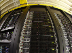 A fish-eye view of a rack of computers