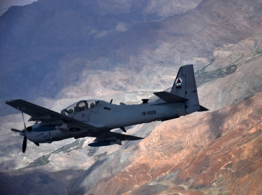 An A-29 Super Tucano flies over Afghanistan during a training mission, April 6, 2016