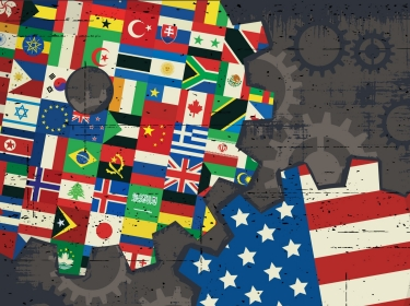 American and world flags as gears