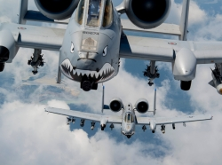 U.S. Air Force A-10s fly in formation