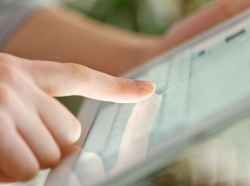 Finger on a tablet