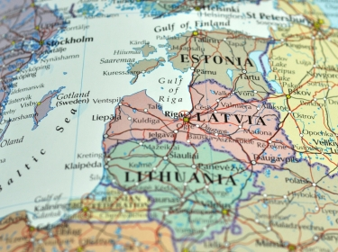 Map of Estonia, Latvia, and Lithuania