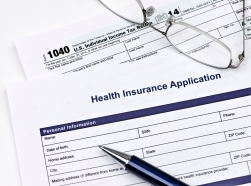 United States 1040 tax form and health insurance application
