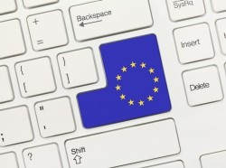 Close-up view on white conceptual keyboard - European Union (key with flag)