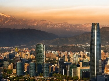 View of Santiago, Chile with the Andes mountain range in the background