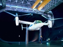 A test plane in a wind tunnel at NASA's Ames Research Center
