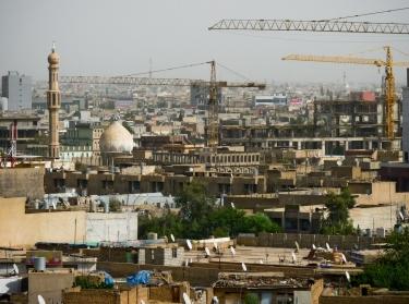 Construction cranes in the city of Erbil in Kurdistan - Iraq