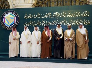 Secretary-General of the Gulf Cooperation Council (GCC) and interior ministers from Oman, Kuwait, Saudi Arabia, Qatar, United Arab Emirates, and Bahrain before their meeting in Riyadh, Saudi Arabia, April 27, 2016