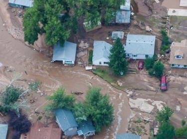 An aerial photo of a flood-affected area of northern Colorado along the Big Thompson River which has been declared a federal disaster area in September 2013