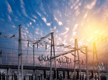 A power substation at sunset