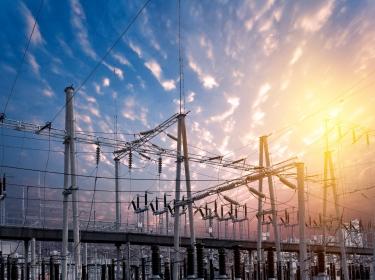 A power substation at sunset