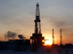 A drilling rig at the Imilorskoye oil field, outside the West Siberian city of Kogalym, Russia, January 25, 2016
