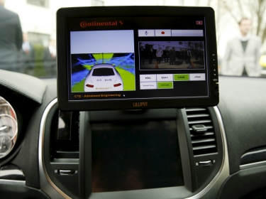 The computer screen in an autonomous prototype Continental Chrysler 300C sedan at an event featuring numerous self-driving cars on Capitol Hill, March 15, 2016