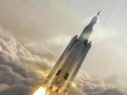 NASA's Space Launch System (SLS) 70-metric-ton configuration is seen launching to space in this undated artist's rendering released August 2, 2014