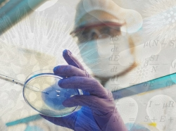 Scientist in a clean room, with data overlay
