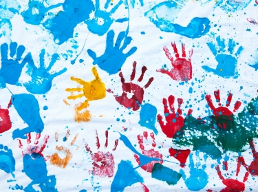 A child's handprint drawing