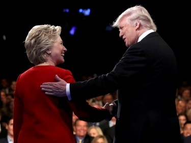 Donald Trump shakes hands with Hillary Clinton at the start of the first presidential debate at Hofstra University in Hempstead, New York, September 26, 2016