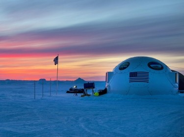 The sun sets on Ice Camp Sargo during Ice Exercise 2016 at the Arctic Circle, March 8, 2016