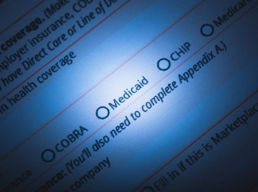 Medicaid option highlighted on an online form