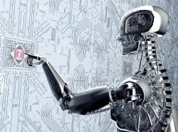Humanoid robot touching a computer screen