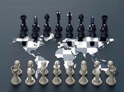 Chess board made out of a world map