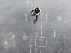 Girl playing hopscotch, seen from above